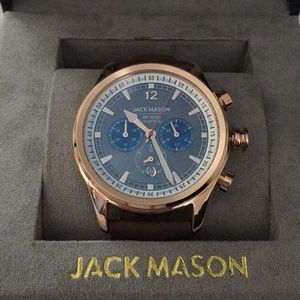 Jack Mason Rose Gold Brown Leather Band Watch